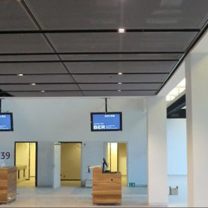 New Berlin Brandenburg airport, uncombustible lowered ceiling